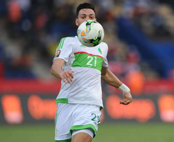Amir Bensebaini of Algeria during the Afcon Group B match between Algeria and Tunisia  on the 19 January 2017 at Franceville Stadium, Gabon Pic Sydney Mahlangu/ BackpagePix