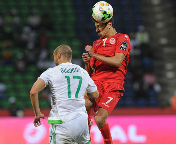 Adlane Guedioura of Algeria challenges Youssef Msakni of Tunisia during the Afcon Group B match between Algeria and Tunisia  on the 19 January 2017 at Franceville Stadium, Gabon Pic Sydney Mahlangu/ BackpagePix