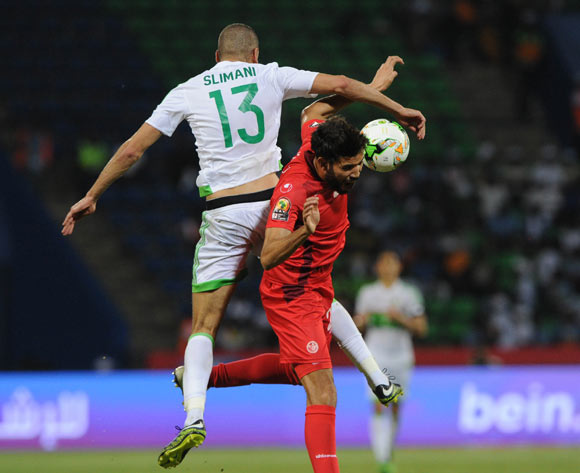 Islam Slimani of Algeria challenges Mohamed Ali Yacoubi of Tunisia during the Afcon Group B match between Algeria and Tunisia  on the 19 January 2017 at Franceville Stadium, Gabon Pic Sydney Mahlangu/ BackpagePix