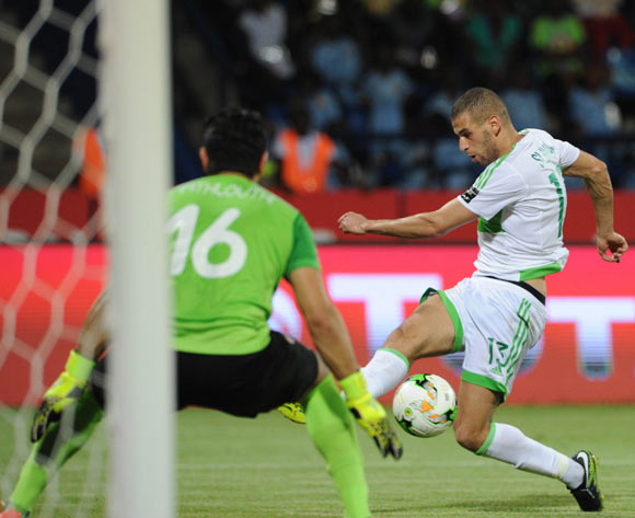 Islam Slimani of Algeria tries to score past Aymen Mathlouthi of Tunisia  during the Afcon Group B match between Algeria and Tunisia  on the 19 January 2017 at Franceville Stadium, Gabon Pic Sydney Mahlangu/ BackpagePix