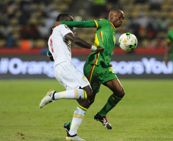 Khama Billiat of Zimbabwe is challenged by Idrissa Gueye of Senegal during the Afcon Group B match between Senegal and Zimbabwe  on the 19 January 2017 at Franceville Stadium, Gabon Pic Sydney Mahlangu/ BackpagePix