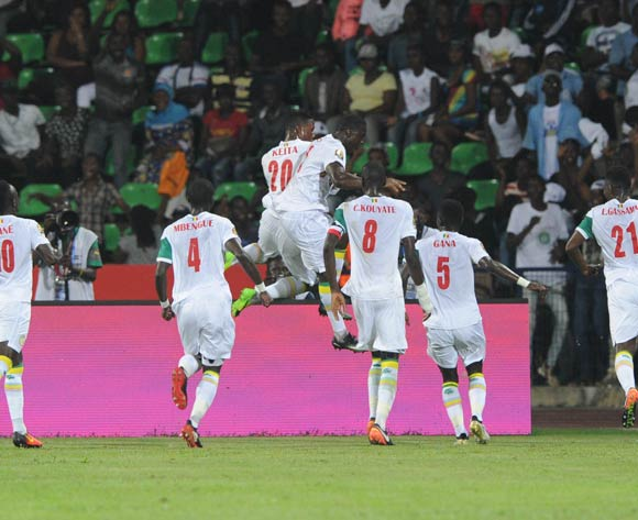 Henri Saivet of Senegal celebrates goal with teammates  during the Afcon Group B match between Senegal and Zimbabwe  on the 19 January 2017 at Franceville Stadium, Gabon Pic Sydney Mahlangu/ BackpagePix