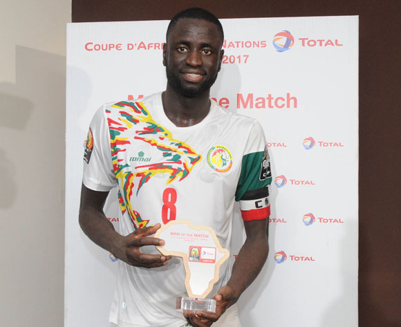 Cheikhou Kouyate of Senegal aware TOTAL man of the match during the Afcon Group B match between Senegal and Zimbabwe  on the 19 January 2017 at Franceville Stadium, Gabon Pic Sydney Mahlangu/ BackpagePix