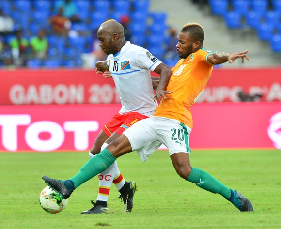 Neeskens Kebano of DR Congo challenged by Die Serey of Ivory Coast during the 2017 Africa Cup of Nations Finals match between Ivory Coast and DR Congo at the Oyem Stadium in Gabon on 20 January 2017 ©Samuel Shivambu/BackpagePix