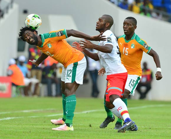 Wilfried Bony of Ivory Coast challenged by Jordan Ikoko of DR Congo during the 2017 Africa Cup of Nations Finals match between Ivory Coast and DR Congo at the Oyem Stadium in Gabon on 20 January 2017 ©Samuel Shivambu/BackpagePix
