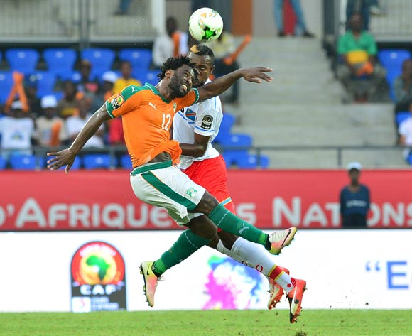 Wilfried Bony of Ivory Coast challenged by Merveille Bope of DR Congo during the 2017 Africa Cup of Nations Finals match between Ivory Coast and DR Congo at the Oyem Stadium in Gabon on 20 January 2017 ©Samuel Shivambu/BackpagePix