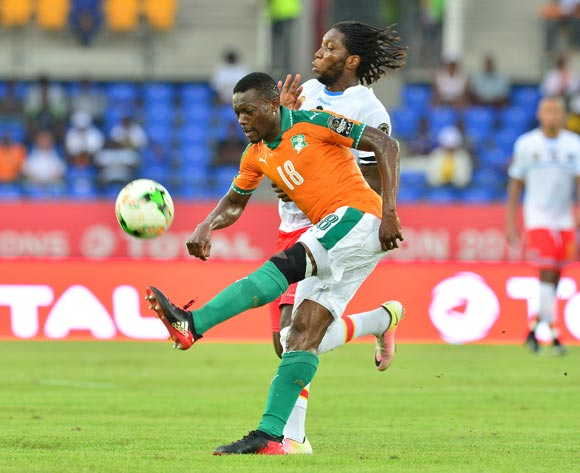 Adama Traore of Ivory Coast challenged by Dieudonne Bezua of DR Congo during the 2017 Africa Cup of Nations Finals match between Ivory Coast and DR Congo at the Oyem Stadium in Gabon on 20 January 2017 ©Samuel Shivambu/BackpagePix