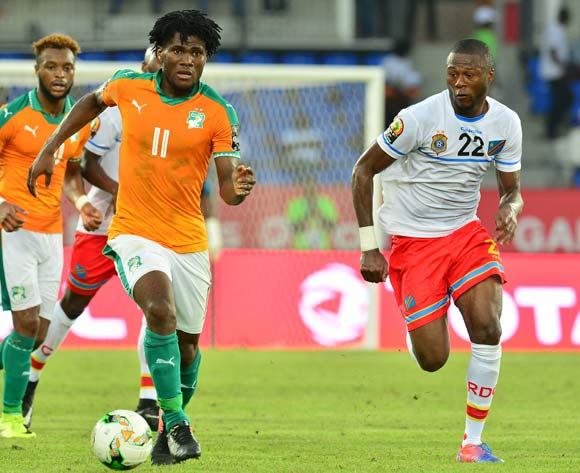 Franck Kessie of Ivory Coast challenged by Chancel Mbemba of DR Congo during the 2017 Africa Cup of Nations Finals match between Ivory Coast and DR Congo at the Oyem Stadium in Gabon on 20 January 2017 ©Samuel Shivambu/BackpagePix