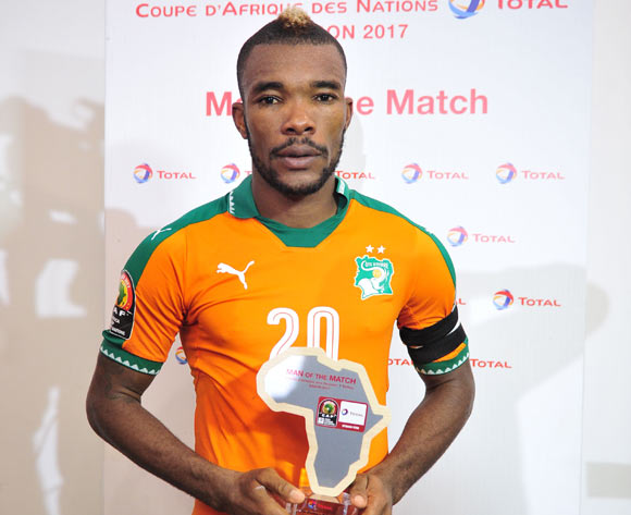 Die Serey of Ivory Coast awarded man of the match during the 2017 Africa Cup of Nations Finals match between Ivory Coast and DR Congo at the Oyem Stadium in Gabon on 20 January 2017 ©Samuel Shivambu/BackpagePix