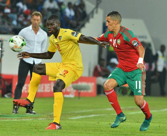 Bebou Ihlas of Togo challenged by Faycal Fajr of Morocco during the 2017 Africa Cup of Nations Finals match between Morocco and Togo at the Oyem Stadium in Gabon on 20 January 2017 ©Samuel Shivambu/BackpagePix