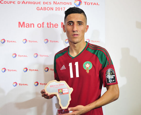 Faycal Fajr of Morocco awarded Man of the match during the 2017 Africa Cup of Nations Finals match between Morocco and Togo at the Oyem Stadium in Gabon on 20 January 2017 ©Samuel Shivambu/BackpagePix