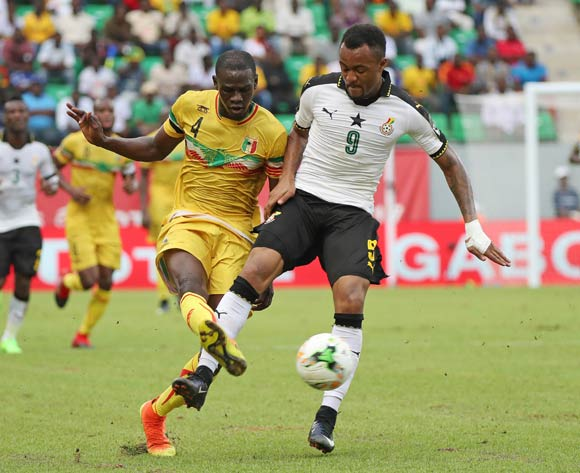 Jordan Ayew of Ghana battles for the ball with Salif Coulibaly of Mali during the 2017 Africa Cup of Nations Finals football match between Ghana and Mali at the Port Gentil Stadium in Gabon on 21 January 2017 ©Chris Ricco/BackpagePix