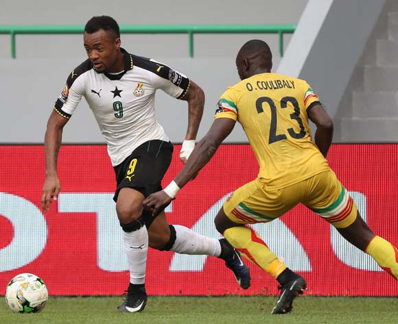 Jordan Ayew of Ghana evades challenge from Ousmane Coulibaly of Mali during the 2017 Africa Cup of Nations Finals football match between Ghana and Mali at the Port Gentil Stadium in Gabon on 21 January 2017 ©Chris Ricco/BackpagePix