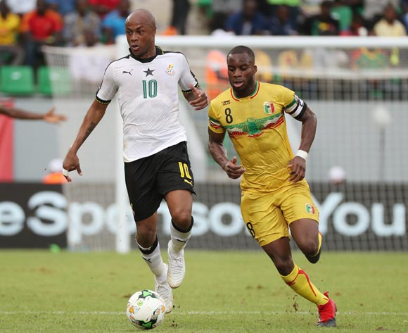 Andre Ayew of Ghana gets away from Yacouba Sylla of Mali during the 2017 Africa Cup of Nations Finals football match between Ghana and Mali at the Port Gentil Stadium in Gabon on 21 January 2017 ©Chris Ricco/BackpagePix