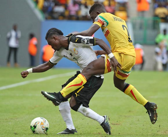 Christian Atsu of Ghana challenged by Hamari Traore of Mali during the 2017 Africa Cup of Nations Finals football match between Ghana and Mali at the Port Gentil Stadium in Gabon on 21 January 2017 ©Chris Ricco/BackpagePix