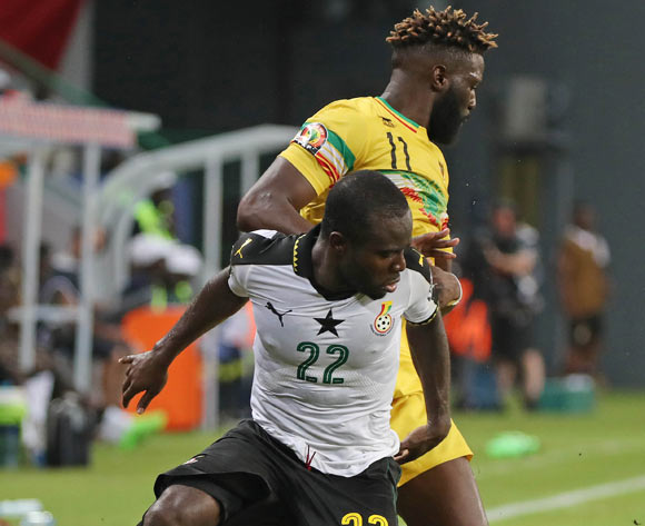 Frank Acheampong of Ghana battles for the ball with Bakary Sako of Mali during the 2017 Africa Cup of Nations Finals football match between Ghana and Mali at the Port Gentil Stadium in Gabon on 21 January 2017 ©Chris Ricco/BackpagePix