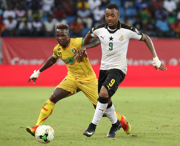 Jordan Ayew of Ghana gets away from Mamoutou N'Diaye of Mali during the 2017 Africa Cup of Nations Finals football match between Ghana and Mali at the Port Gentil Stadium in Gabon on 21 January 2017 ©Chris Ricco/BackpagePix