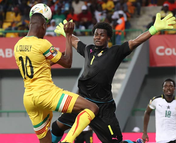 Kalifa Coulibaly of Mali challenged by Razak Brimah of Ghana during the 2017 Africa Cup of Nations Finals football match between Ghana and Mali at the Port Gentil Stadium in Gabon on 21 January 2017 ©Chris Ricco/BackpagePix