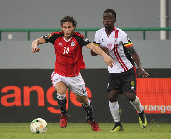 Ramadan Sobhi of Egypt gets away from Denis Iguma of Uganda during the 2017 Africa Cup of Nations Finals football match between Egypt and Uganda at the Port Gentil Stadium in Gabon on 21 January 2017 ©Chris Ricco/BackpagePix