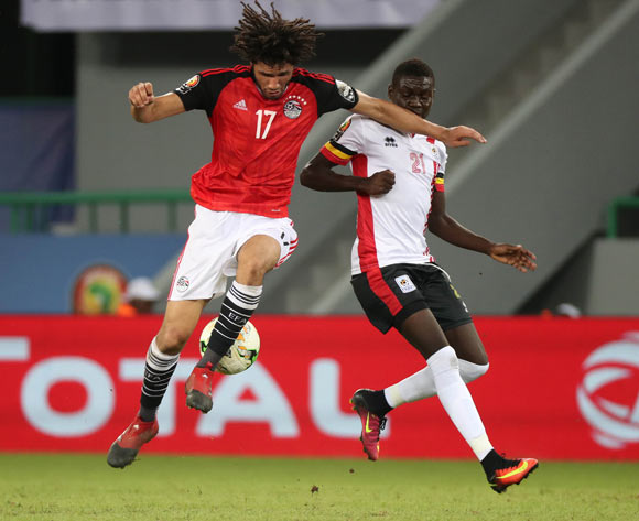 Mohamed Elneny of Egypt battles for the ball with Muhammad Shaban of Uganda during the 2017 Africa Cup of Nations Finals football match between Egypt and Uganda at the Port Gentil Stadium in Gabon on 21 January 2017 ©Chris Ricco/BackpagePix