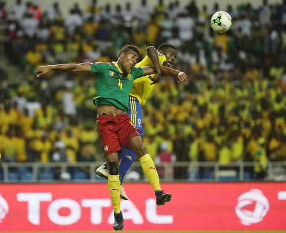 Adolph Teikeu Kamgang of Cameroon (l) wins header against Evouna Malick of Gabon during the 2017 African Cup of Nations Finals Afcon football match between Cameroon and Gabon at the Libreville Stadium in Gabon on 22 January 2017 ©Gavin Barker/BackpagePix