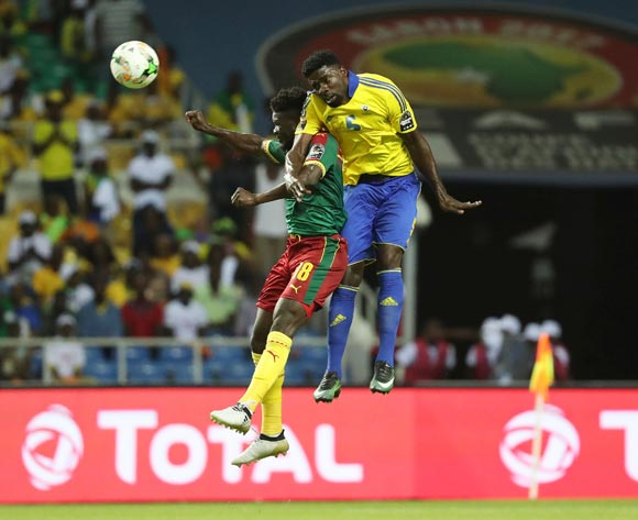 Bruno Ecuele Manga of Gabon (r) wins header against Robert Ndip Tambe of Cameroon during the 2017 African Cup of Nations Finals Afcon football match between Cameroon and Gabon at the Libreville Stadium in Gabon on 22 January 2017 ©Gavin Barker/BackpagePix