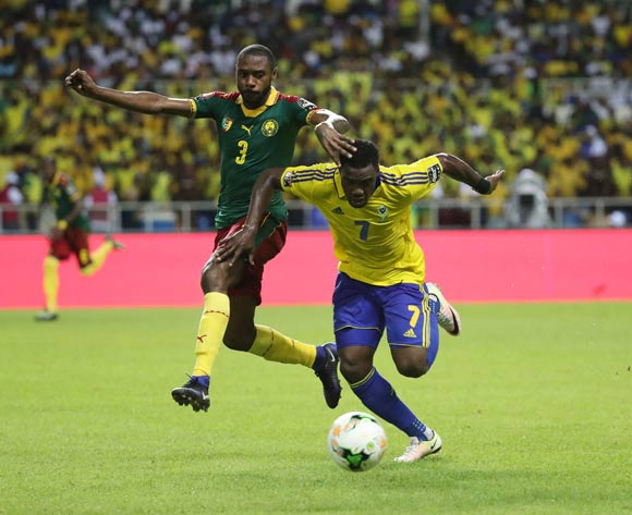 Evouna Malick of Gabon (r) challenged by Nicolas Nkoulou of Cameroon during the 2017 African Cup of Nations Finals Afcon football match between Cameroon and Gabon at the Libreville Stadium in Gabon on 22 January 2017 ©Gavin Barker/BackpagePix