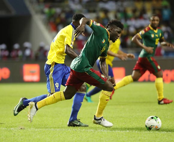 Robert Ndip Tambe of Cameroon gets away from Bruno Ecuele Manga of Gabon during the 2017 African Cup of Nations Finals Afcon football match between Cameroon and Gabon at the Libreville Stadium in Gabon on 22 January 2017 ©Gavin Barker/BackpagePix