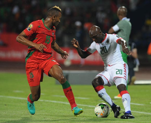 Brito E Silva Toni of Guinea Bissau challenges Yacouba Coulibaly of Burkina Faso during the Afcon Group A match between  Guinea Bissau and Burkina Faso  on the 22 January 2017 at Franceville , Gabon Pic Sydney Mahlangu/ BackpagePix