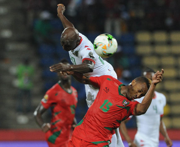 Brito E Silva Toni of Guinea Bissau is challenged by Yacouba Coulibaly of Burkina Faso during the Afcon Group A match between  Guinea Bissau and Burkina Faso  on the 22 January 2017 at Franceville , Gabon Pic Sydney Mahlangu/ BackpagePix