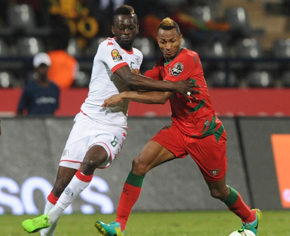 Brito E Silva Toni of Guinea Bissau challenges  Bakary Sare of Burkina Faso during the Afcon Group A match between  Guinea Bissau and Burkina Faso  on the 22 January 2017 at Franceville , Gabon Pic Sydney Mahlangu/ BackpagePix
