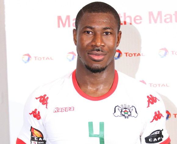 Niguimbe Nakoulma of Burkina Faso awarded TOTAL man of the match during the Afcon Group A match between  Guinea Bissau and Burkina Faso  on the 22 January 2017 at Franceville , Gabon Pic Sydney Mahlangu/ BackpagePix