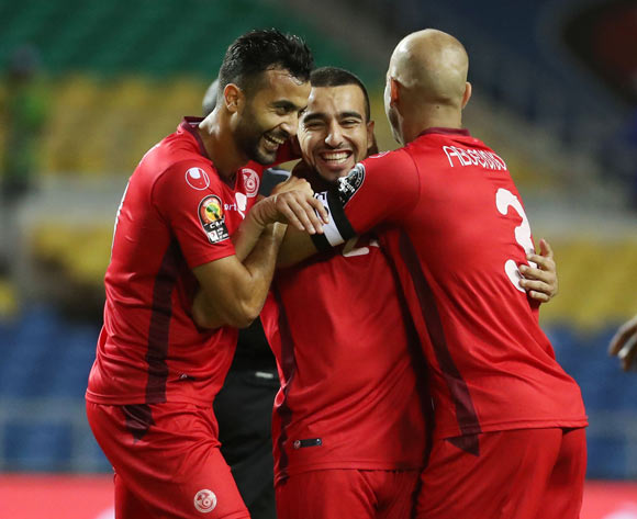 Sliti Naim of Tunisia celebrates goal  during the 2017 African Cup of Nations Finals Afcon football match between Zimbabwe and Tunisia  at the Libreville Stadium in Gabon on 23 January 2017 ©Gavin Barker/BackpagePix