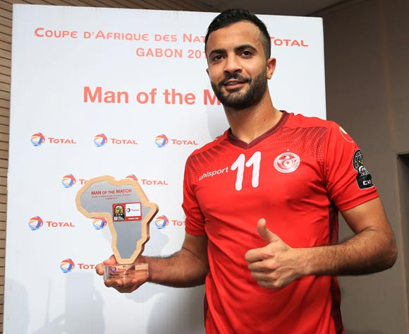 Taha Yassine Khenissi of Tunisia wins Total Man of the Match during the 2017 African Cup of Nations Finals Afcon football match between Zimbabwe and Tunisia  at the Libreville Stadium in Gabon on 23 January 2017 ©Gavin Barker/BackpagePix