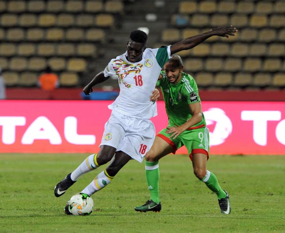 Ismaila Sarr of Senegal is challenged by Sofiane Hanni of Algeria during the Afcon Group B match between  Senegal and Algeria  on the 23 January 2017 at Franceville , Gabon Pic Sydney Mahlangu/ BackpagePix