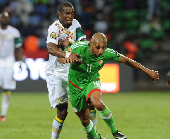 Yacine Nasr Brahimi of Algeria  is challenged by Papa Kouly Diop of Senegal during the Afcon Group B match between  Senegal and Algeria  on the 23 January 2017 at Franceville , Gabon Pic Sydney Mahlangu/ BackpagePix