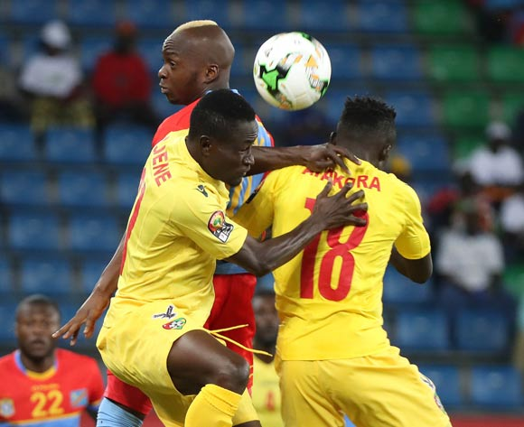 Neeskens Kebano of DR Congo battles for the ball with Ortega Dakonam Djene of Togo (l) and Lalawele Atakora of Togo (r) during the 2017 Africa Cup of Nations Finals football match between Togo and DR Congo at the Port Gentil Stadium in Gabon on 24 January 2017 ©Chris Ricco/BackpagePix