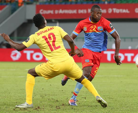 Chancel Mbemba of DR Congo evades challenge from Razak Boukari of Togo during the 2017 Africa Cup of Nations Finals football match between Togo and DR Congo at the Port Gentil Stadium in Gabon on 24 January 2017 ©Chris Ricco/BackpagePix