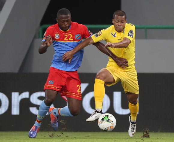 Mathieu Dossevi of Togo battles for the ball with Chancel Mbemba of DR Congo during the 2017 Africa Cup of Nations Finals football match between Togo and DR Congo at the Port Gentil Stadium in Gabon on 24 January 2017 ©Chris Ricco/BackpagePix