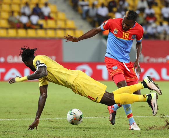 Emmanuel Adebayor of Togo fouled by Merveille Bope of DR Congo during the 2017 Africa Cup of Nations Finals football match between Togo and DR Congo at the Port Gentil Stadium in Gabon on 24 January 2017 ©Chris Ricco/BackpagePix