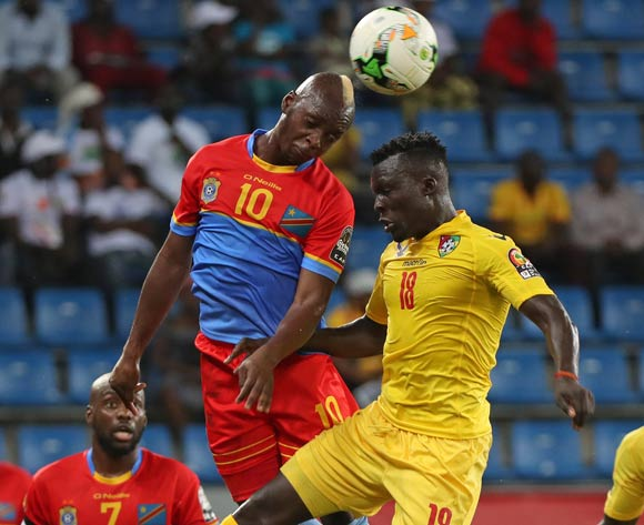 Neeskens Kebano of DR Congo battles for the ball with Lalawele Atakora of Togo during the 2017 Africa Cup of Nations Finals football match between Togo and DR Congo at the Port Gentil Stadium in Gabon on 24 January 2017 ©Chris Ricco/BackpagePix