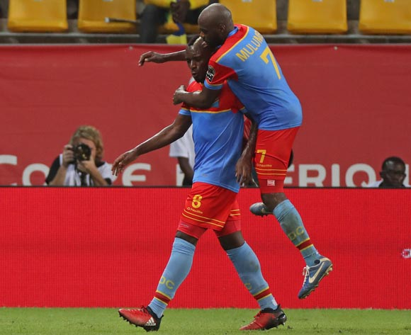 Paul Mpoku of DR Congo celebrates goal with Yousuf Mulumbu of DR Congo (r) during the 2017 Africa Cup of Nations Finals football match between Togo and DR Congo at the Port Gentil Stadium in Gabon on 24 January 2017 ©Chris Ricco/BackpagePix