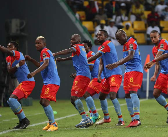 Paul Mpoku of DR Congo (8) celebrates goal with teammates during the 2017 Africa Cup of Nations Finals football match between Togo and DR Congo at the Port Gentil Stadium in Gabon on 24 January 2017 ©Chris Ricco/BackpagePix