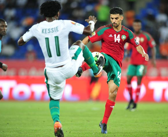 Mbark Boussoufa of Morocco challenged by Franck Nessie of Ivory Coast during the 2017 Africa Cup of Nations Finals match between Morocco and Ivory Coast at the Oyem Stadium in Gabon on 24 January 2017 ©Samuel Shivambu/BackpagePix