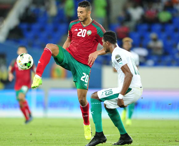 Aziz Bouhaddouz of Morocco challenged by Simon Deli of Ivory Coast during the 2017 Africa Cup of Nations Finals match between Morocco and Ivory Coast at the Oyem Stadium in Gabon on 24 January 2017 ©Samuel Shivambu/BackpagePix