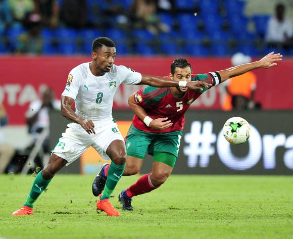 Salomon Kalou of Ivory Coast challenged by Mehdi Mouttaqui Benatia of Morocco during the 2017 Africa Cup of Nations Finals match between Morocco and Ivory Coast at the Oyem Stadium in Gabon on 24 January 2017 ©Samuel Shivambu/BackpagePix