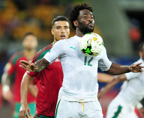 Wilfried Bony of Ivory Coast challenged by Nabil Dirar of Morocco during the 2017 Africa Cup of Nations Finals match between Morocco and Ivory Coast at the Oyem Stadium in Gabon on 24 January 2017 ©Samuel Shivambu/BackpagePix