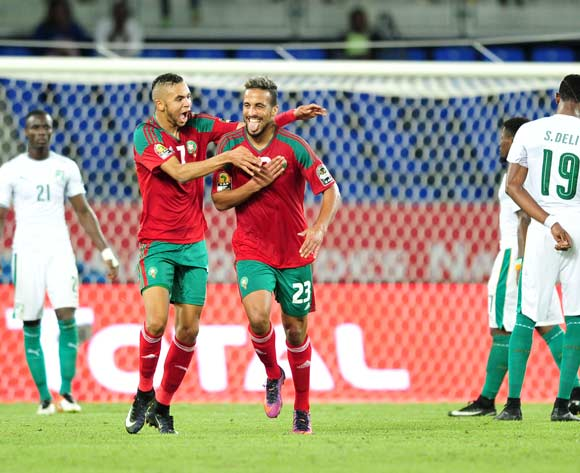 Rachid Alioui of Morocco celebrates goal with teammates during the 2017 Africa Cup of Nations Finals match between Morocco and Ivory Coast at the Oyem Stadium in Gabon on 24 January 2017 ©Samuel Shivambu/BackpagePix