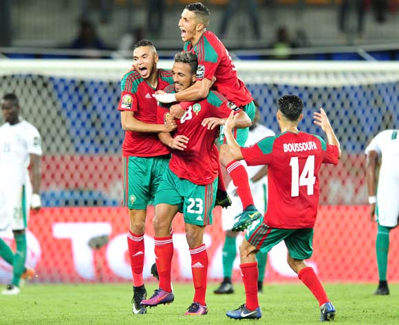 Morocco celebrate after scoring