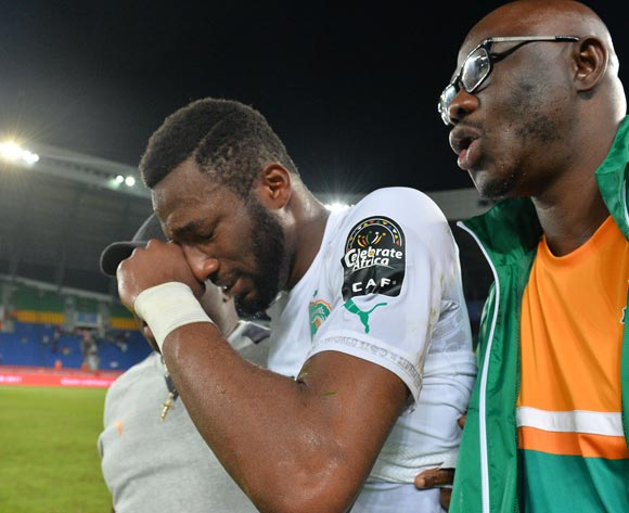 Wilfried Serge Kanon of Ivory Coast in tears during the 2017 Africa Cup of Nations Finals match between Morocco and Ivory Coast at the Oyem Stadium in Gabon on 24 January 2017 ©Samuel Shivambu/BackpagePix